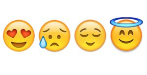 Emoticons illustrating the 4 emotional stages of a new life in Dubai
